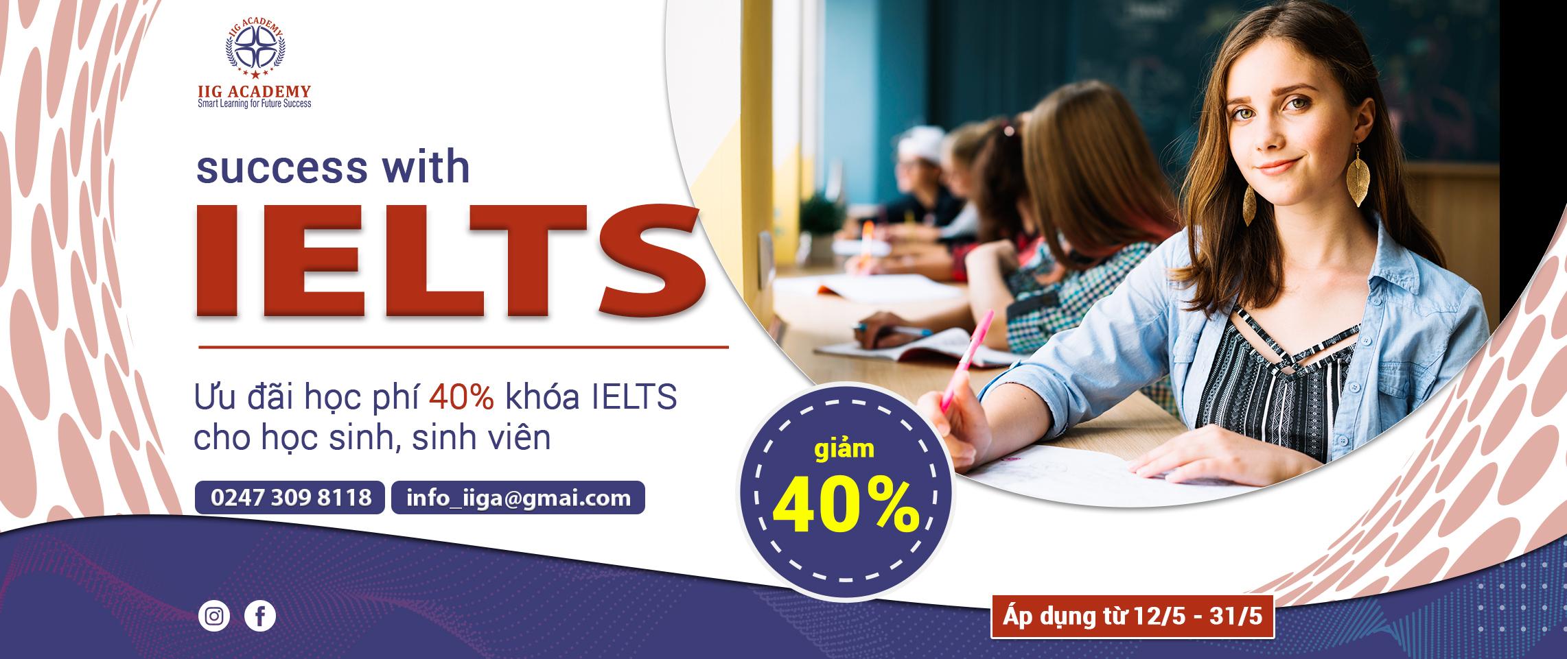Luyện thi IELTS - ưu đãi 40%